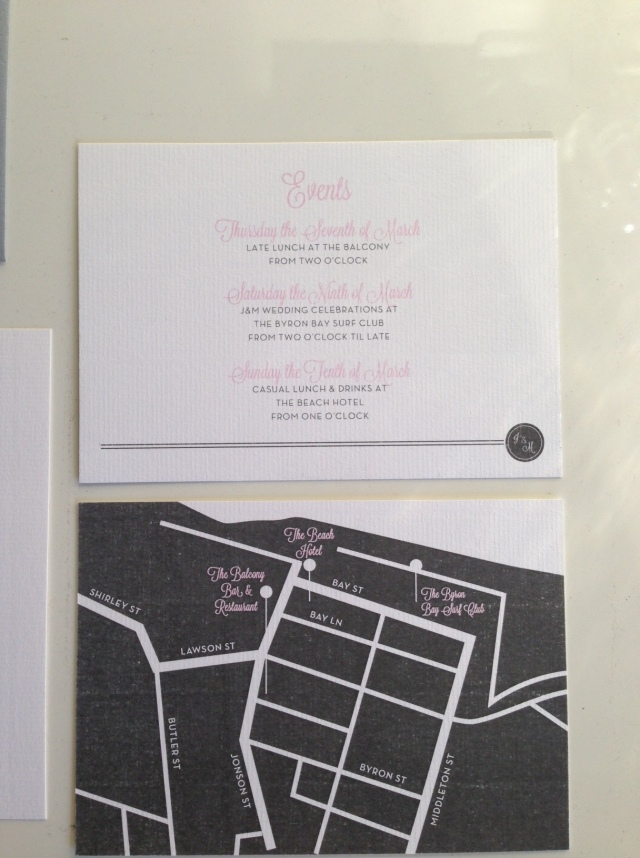 {events card with an adorable map of Byron Bay printed on the back}