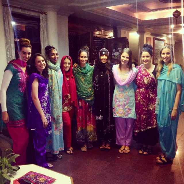 {the gorgeous ladies kitted out in traditional clothing for Nepali New Year}
